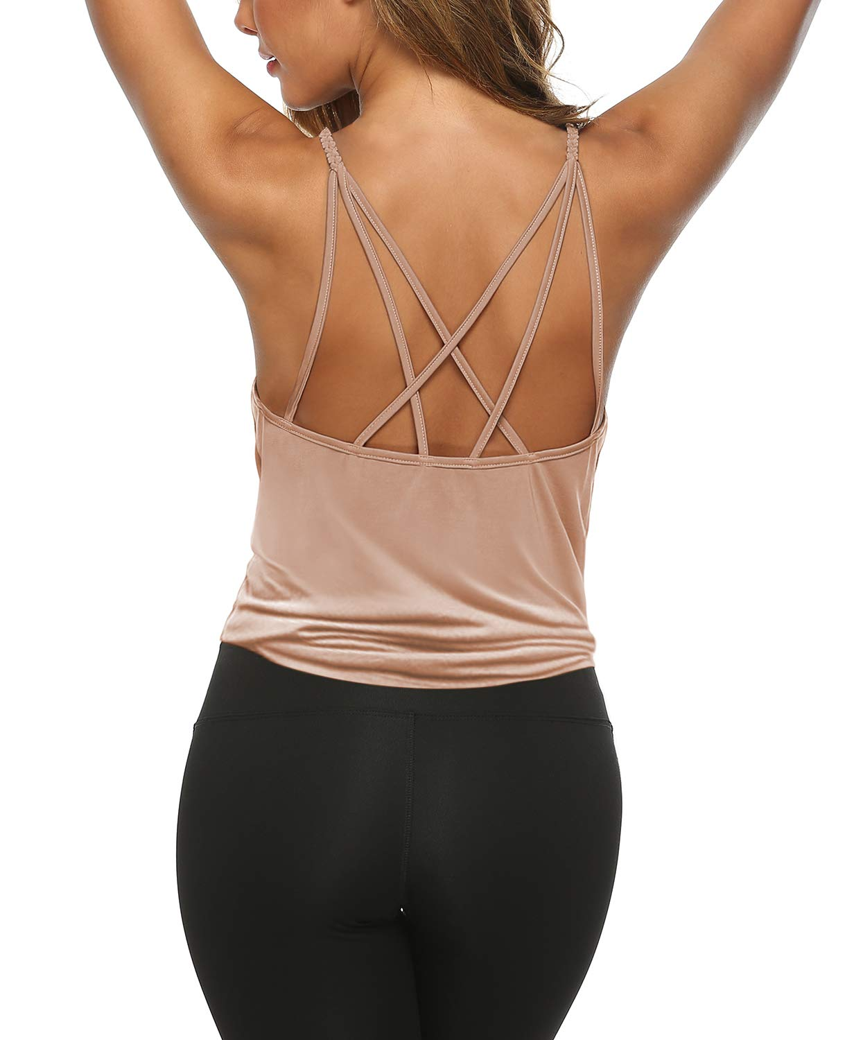 OYANUS Womens Summer Workout Tank Tops Open Back Shirts Strappy Yoga Tank Tops Running Sports Quick Dry Activewear Clothes for Juniors Bisque S by OYANUS
