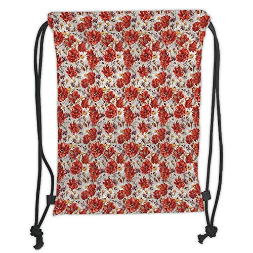 House Decor,Blooming Poppies Ladybird Bumblebee Bee and Butterflies Summer Joyful Art, Soft Satin,5 Liter Capacity,Adjustable String Closure,The Stylish B