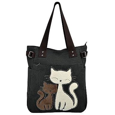 fe877f97e63b7 Vbiger Frauen Schultertasche Segeltuch Tasche Niedliche Katzen Tasche Damen  Schopper Ideal Geschenk für Damen