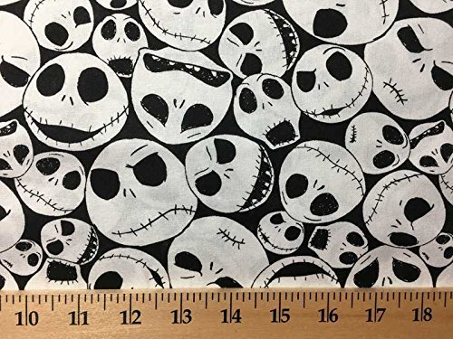 (Nightmare before Christmas Jack Skellington on Black Cotton Handcrafted Curtain)