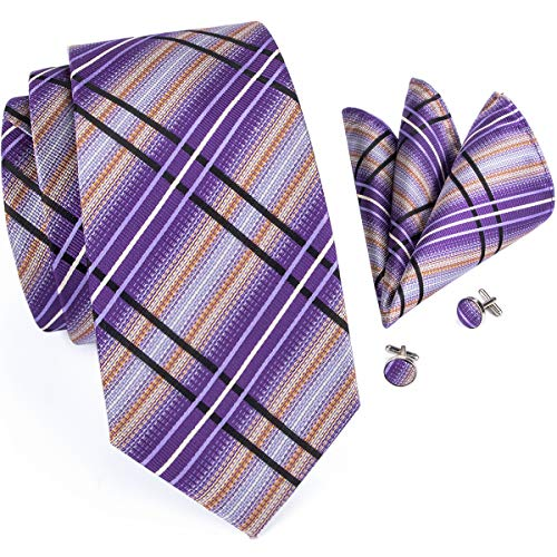 Hi-Tie Purple Plaid Woven Silk Tie Necktie Pocket Square Cufflinks Set ()