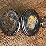 Steampunk Golden Gears Copper Case Skeleton Mechanical Pendant Pocket Watch with Chain/Gift Box 11