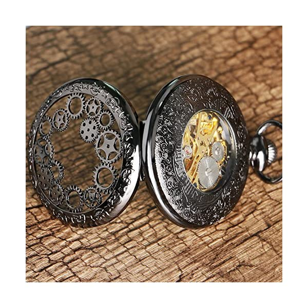 Steampunk Golden Gears Copper Case Skeleton Mechanical Pendant Pocket Watch with Chain/Gift Box 5