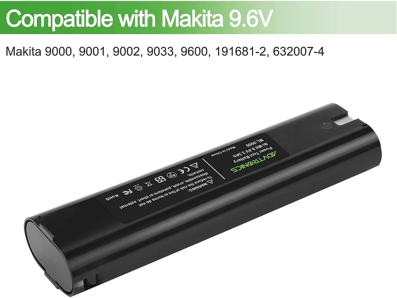 Advtronics 9.6V 3.3Ah Ni-MH per Batteria Makita 9000 9033 193890-9 192696-2 632007-4 4190D 4190DW 4300D 4300DW 4390D 4390DW 5090D 5090DW