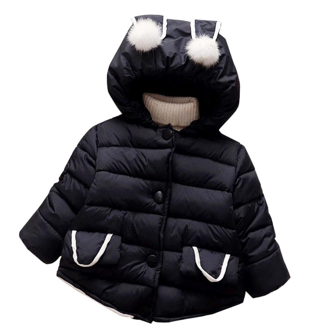 Baby Toddler Winter Thick Warm Clothes Autumn Hooded Coat Girls Cloak Jacket (18-24 Months, Black)