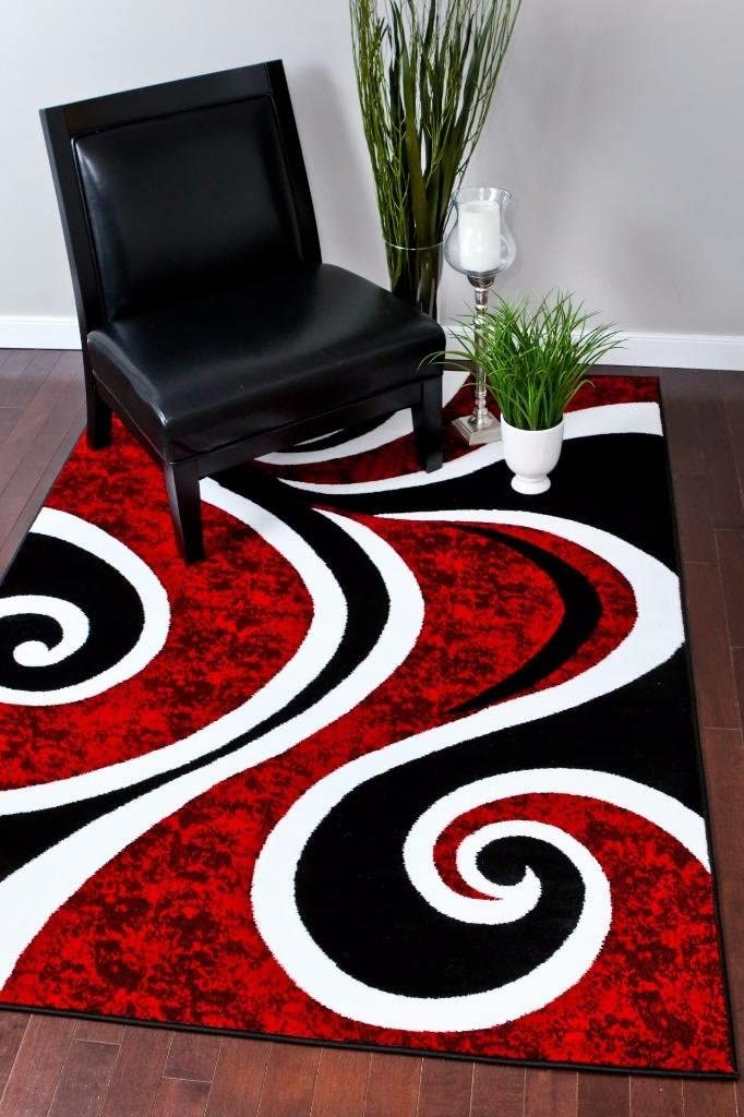Amazon Com 0327 Red Black Swirl White Area Rug Carpet 5x7 Modern Abstract Furniture Decor