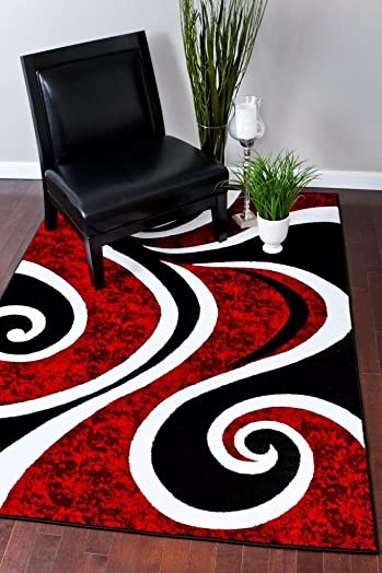 0327 Red Black Swirl White Area Rug Carpet 5×7 Modern Abstract