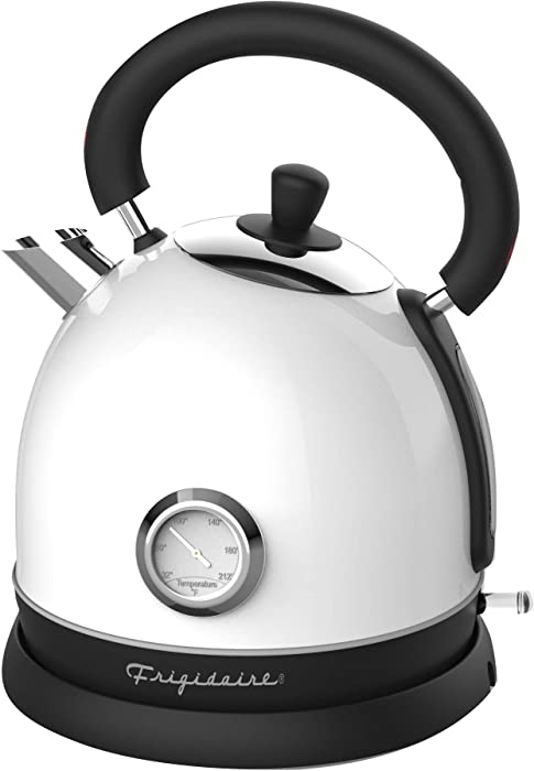 Frigidaire EKET125-WHITE Retro Electric Water Kettle Stainless Steel 1.8l, Fast Boiling, Bpa-Free, White