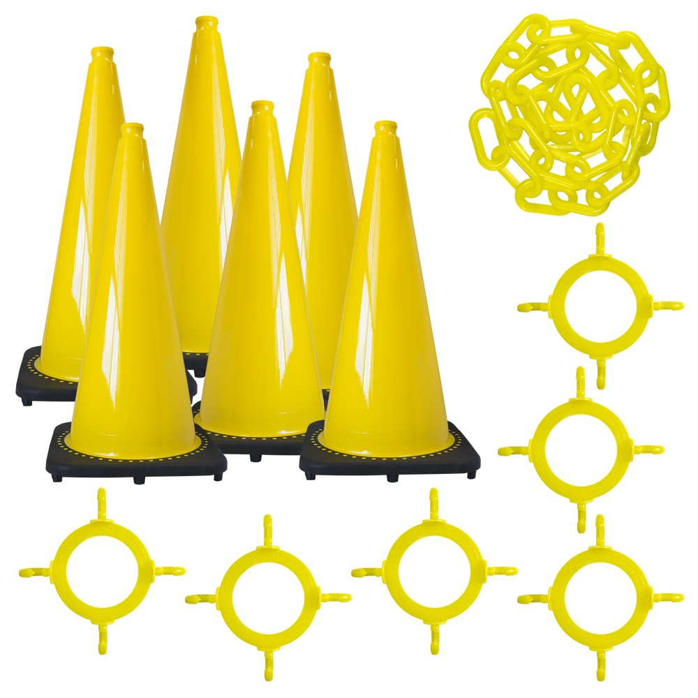 Mr. Chain Traffic Cone and Chain Kit, Yellow, 28-Inch Height (93202-6) by Mr. Chain