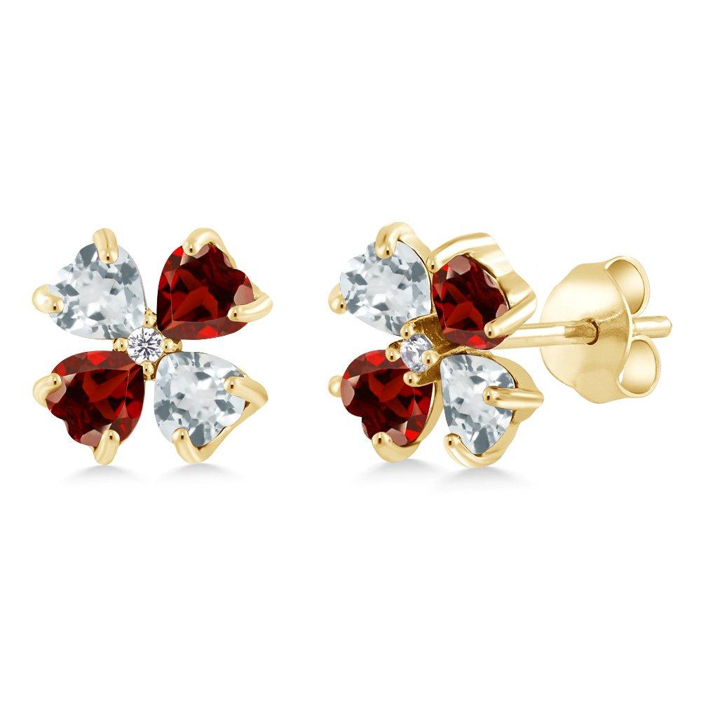 Gem Stone King 1.25 Ct Sky Blue Aquamarine Red Garnet 18K Yellow Gold Plated Silver Earrings