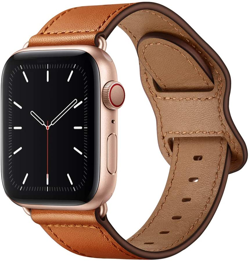 KYISGOS Compatible with iWatch Band 40mm 38mm 44mm 42mm, Genuine Leather Replacement Band Strap Compatible with Apple Watch SE Series 6 5 4 3 2 1 (Brown/Rose Gold, 40mm/38mm)