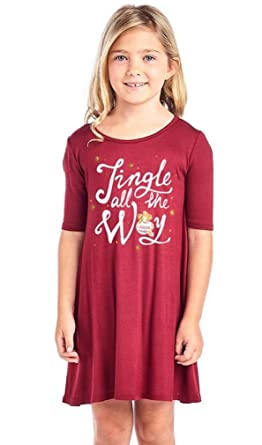 995aac66a3e Amazon.com  LC Boutique Girls Jersey Short Sleeve Christmas Holiday Dress  Sizes Fit 4-9 Years stating
