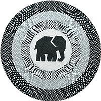 USTIDE 59-inch Round Braided Rug Indoor Outdoor Rug Cute Elephant Designer Rug Washable Patio Deck Carpet
