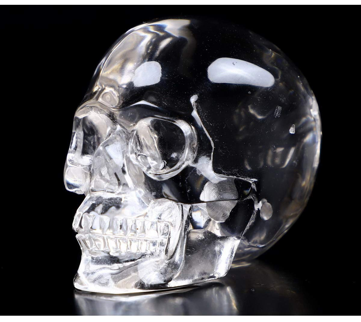 Skullis 2.0 Clear Quartz Rock Crystal Skull, Hand Carved Gemstone Fine Art Sculpture, Reiki Healing Stone Statue.8622