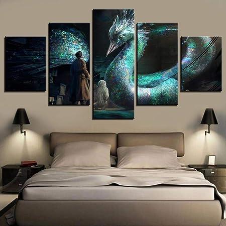 chgznb Cuadro sobre Lienzo HD Impreso 5 Piezas Canvas Art Animales fantásticos y dónde encontrarlos Imágenes de Pared para: Amazon.es: Hogar