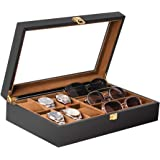 Baskiss 6 Slots Watch Box and 3 Slots Eyewear Sunglass Storage Box, Solid Wood Watch Display Storage Case Jewelry…
