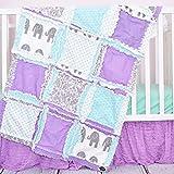 Elephant Crib Set - Light Purple / Mint / Gray / - Safari Baby Bedding with Quilt, Skirt, Sheet