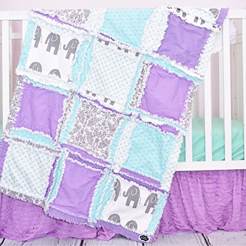Image of Elephant Blanket - Light Purple/Gray/Mint - Safari Baby Quilt ONLY Home and Kitchen