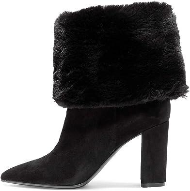 YDN Women Faux Fur Cuff Ankle Boots