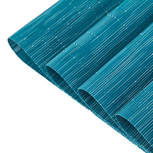 Pauwer Placemats Set of 6 Crossweave Woven Vinyl Placemat for Kitchen Table Heat Resistant Non-Slip Kitchen Table Mats Easy to Clean (6pcs Placemats, Blue)
