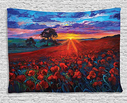 OUR WINGS Flower Tapestry Sunset Country Decor Poppy Flower Garden in Valley with Horizon and Fairy Clouds Paint Effect Print Poppies Bedroom Living Room Dorm Wall Hanging 5159 Inches Multi