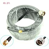 Low Loss WiFi Antenna Cable 15-Meter(49.2 Ft) N Male to SMA Male RG58 Coaxial 50 Ohm For CB Amateur Two-Way Radio 3G 4G LTE Ham ADS-B GPS RF Radio