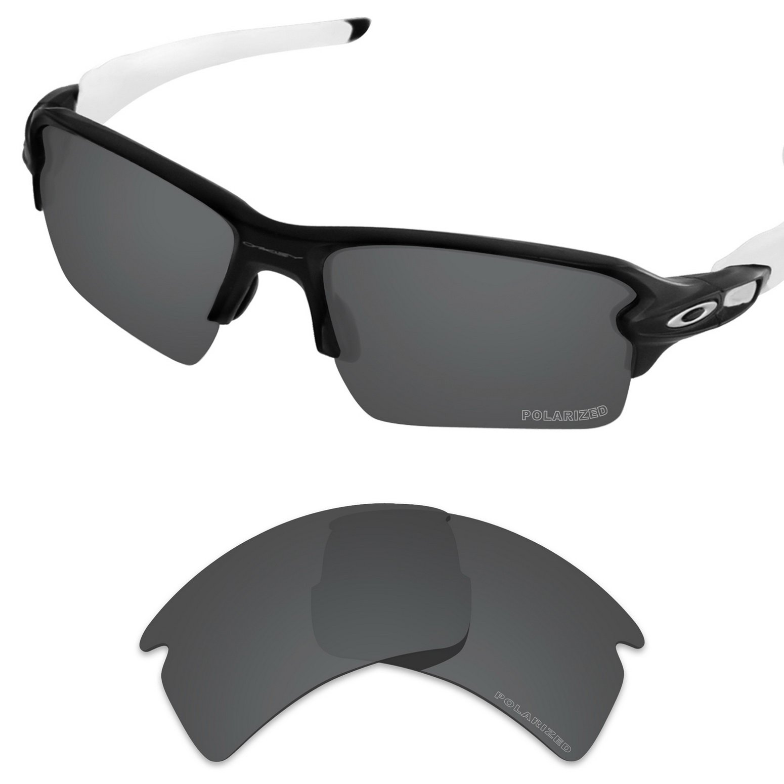 Tintart Performance Replacement Lenses for Oakley Flak 2.0 XL Sunglass Polarized Etched-Carbon Black