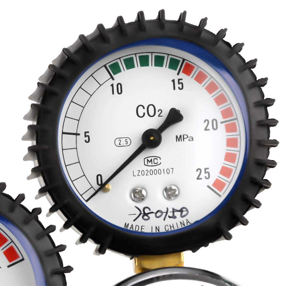 Druckreduzierventil zum Gasschwei/ßen G5//8 CO2 Druckminderer aus Zinklegierung Dual Gauge Gasflaschenregler Schneiden Ccylez CO2 Druckregler Gasflasche