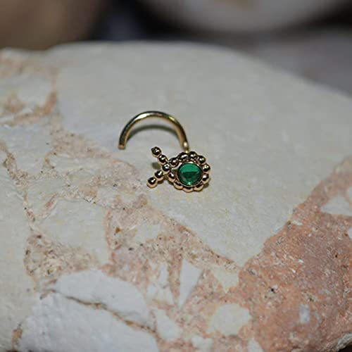8ce30aedf Image Unavailable. Image not available for. Color: 2mm Emerald NOSE STUD  EARRING // Gold Nose Hoop - Tragus ...