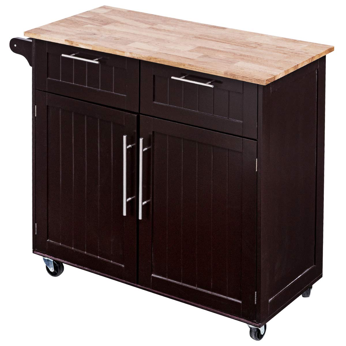 Giantex Kitchen Island Cart Rolling Storage Trolley Cart Home and Restaurant Serving Utility Cart with Drawers,Cabinet, Towel Rack and Wood Top by Giantex (Image #7)