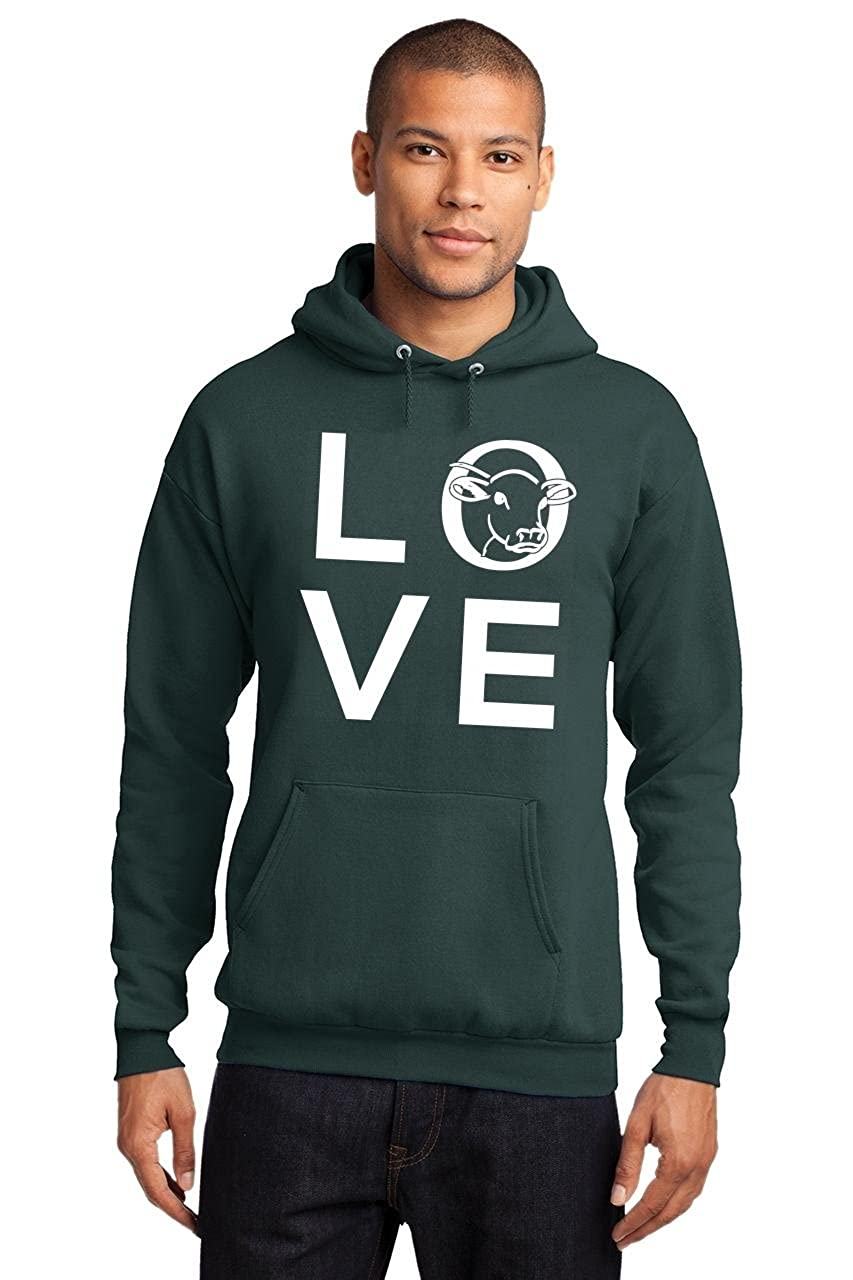 Comical Shirt Mens Love Cow Cattle Large Graphic Hoodie