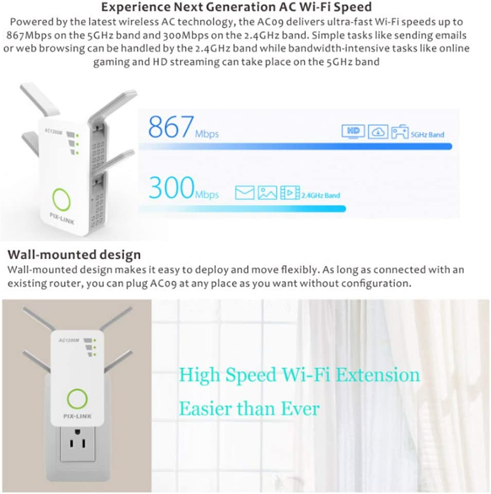 LYTLD Universal Dual Band Range Extender Wall-Mounted Design Boost Your Router Coverage to Expanded White Broadband//Wi-Fi Extender