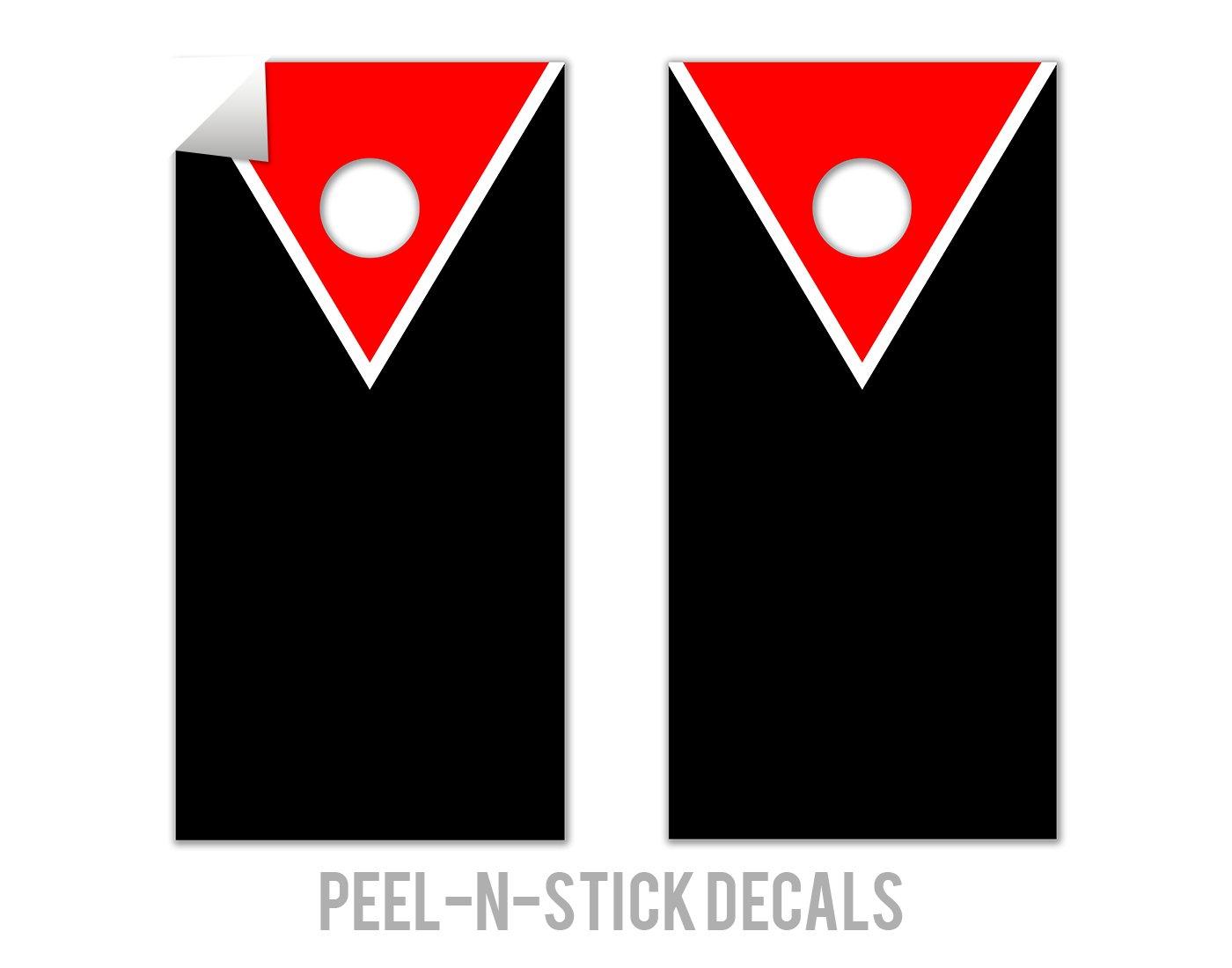 Classic Triangle - Red, Black - Cornhole Crew - ACA Regulation Size Cornhole Board Decals
