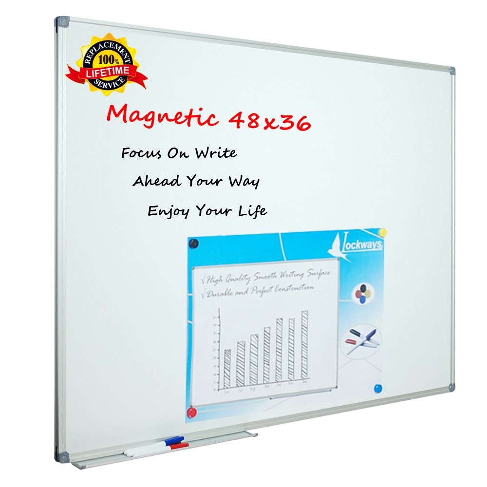 Lockways White Board Dry Erase Board 48 x 36 - Magnetic Whiteboard 4 X 3, Silver Aluminium Frame, Set Including 1 Detachable Aluminum Marker Tray, 3 Dry Erase Markers, 8 Magnets by Lockways
