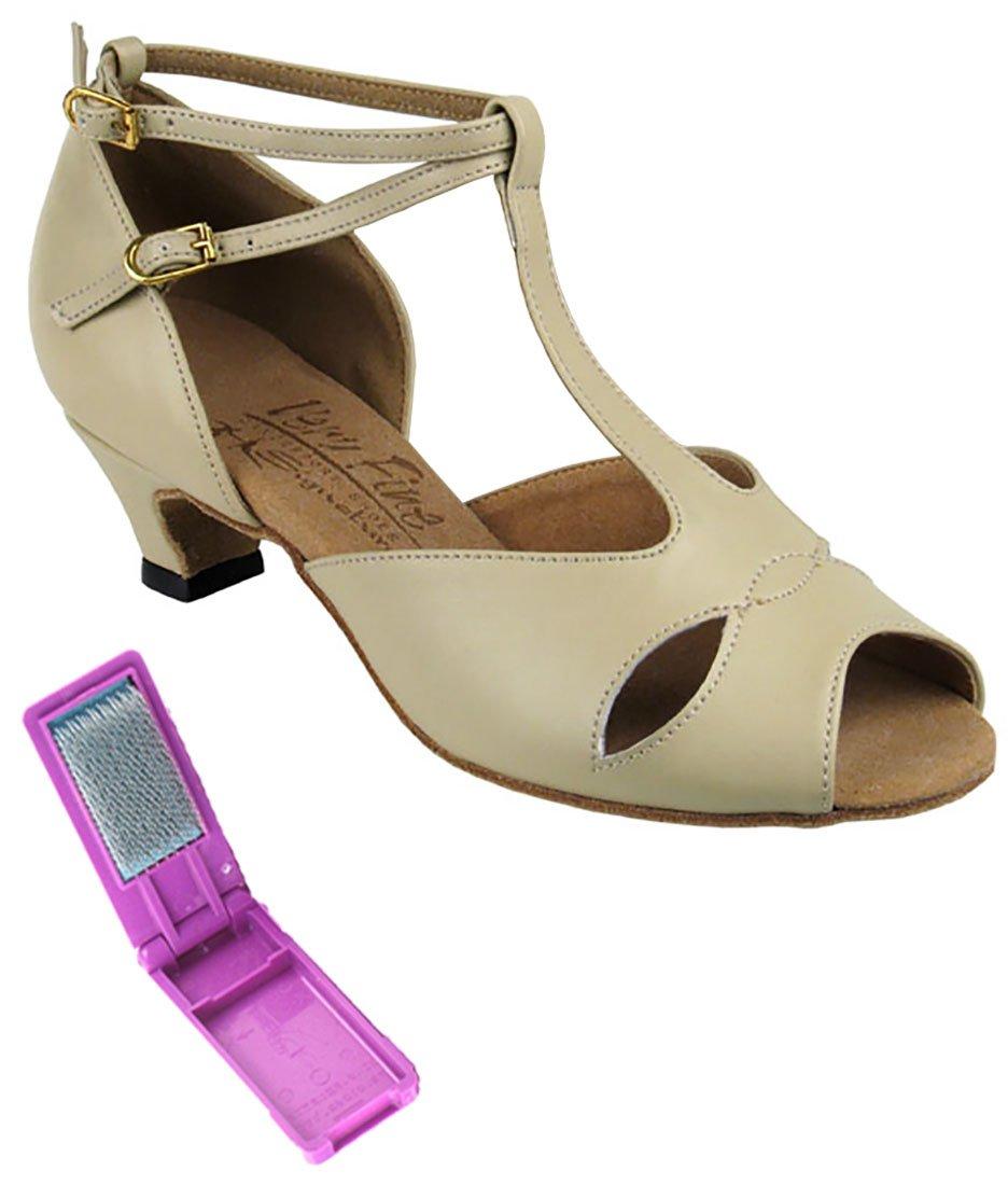 Very Fine Ballroom Latin Tango Salsa Dance Shoes for Women S2803 1.2 inch Heel + Foldable Brush Bundle - Beige Leather - 7