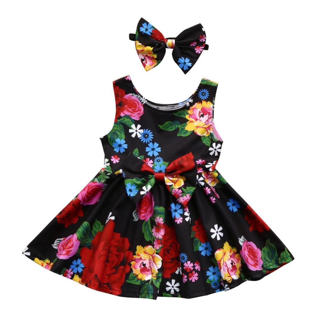 c58433d063b Amazon.com  Toraway Baby Girls Dresses Summer Dress Sleeveless Floral Bowknot  Princess Party A-Line Dresses + 1PC Headband Outfits  Clothing