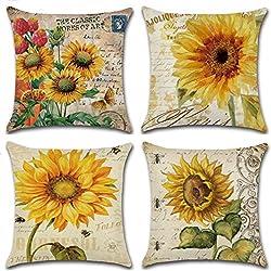 Qinqingo Throw Pillow Covers Vintage Sunflower Throw Pillow Case Cushion Cover Decorative Cotton Linen Pillowcase Sofa Home Decor Set of 4