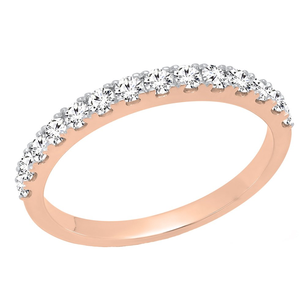 0.50 Carat (ctw) 10K Rose Gold Round Diamond Wedding Anniversary Stackable Band 1/2 CT (Size 7)