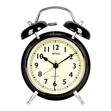 Hense Reloj analógico de cuarzo de 10 cm con dos campanas, alarma retro, silencioso