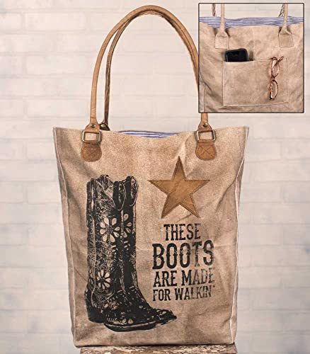 f5f17bbc4ed7a Canvas Tote Bag - These Boots Are Made For Walkin