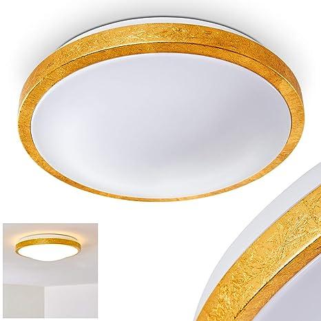 Lámpara de techo LED de aspecto dorado redonda Sora - para ...