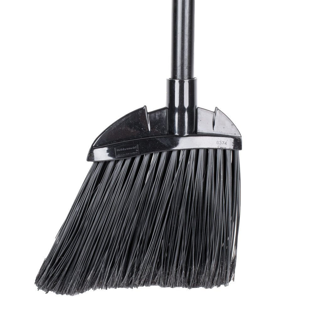 """Rubbermaid Commercial 6374 7-1/2"""" Length x 2"""" Width x 35"""" Height, Black Color, Polypropylene Lobby Broom with Vinyl Coated Metal Handle"""