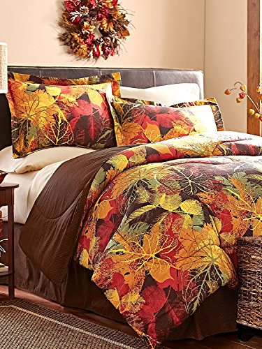 4 Piece FULL Size Fall Autumn Leaves Comforter Set