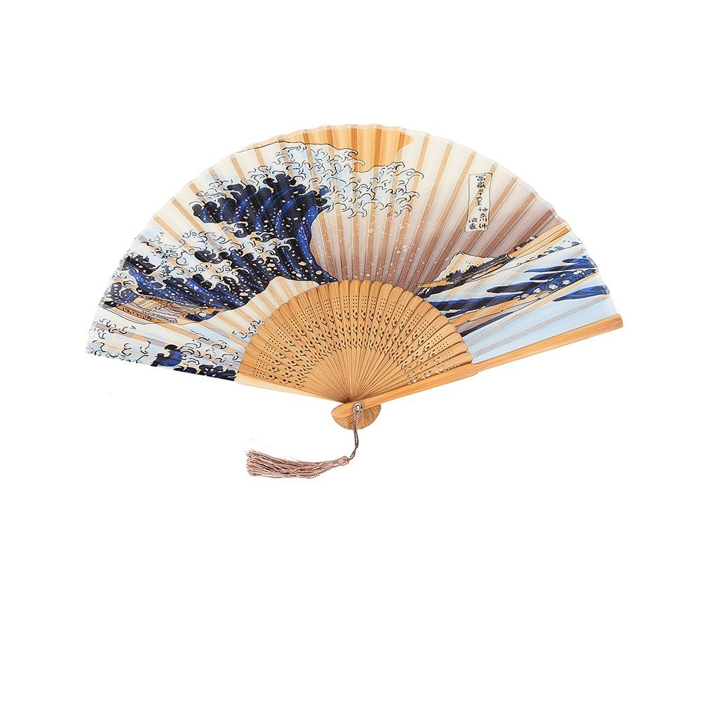 Lanburch Chinese/Japanese Style Folding Fan Mountain And River Pint Silk Handheld Folding Fan