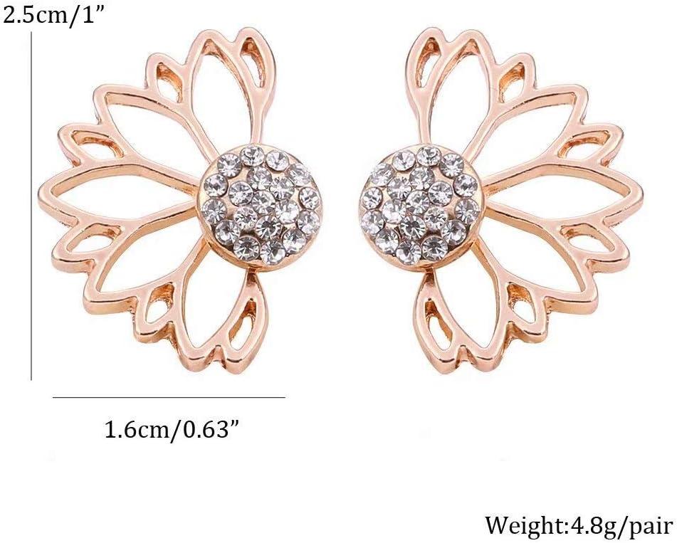 Liroyal Unisexe Creux Motif Fleur Brillant Strass en Alliage doreille Modernes Filles Boucles doreille 1 Paire