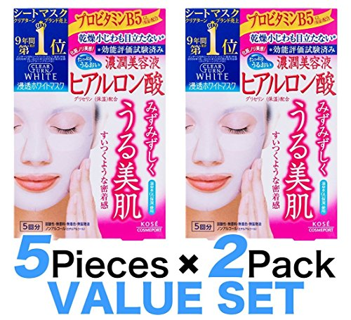 KOSE Clear Turn White Hyaluronic Acid Paper Facial Mask---5 Piece(set of 2) (Paper Mask Japan compare prices)