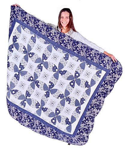 Handcrafted Quilted Throw (Squish Antique Quilted Oversize Throw 55x70-inch - Indigo Blue Theme)
