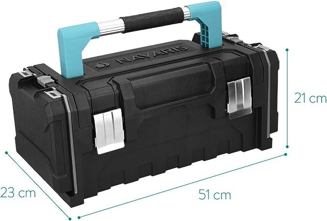 Navaris caja de herramientas de plástico - Organizador con 2 cierres de acero y 2 bandejas extraíbles - Maletín para bricolaje con asa de aluminio: Amazon.es: Bricolaje y herramientas