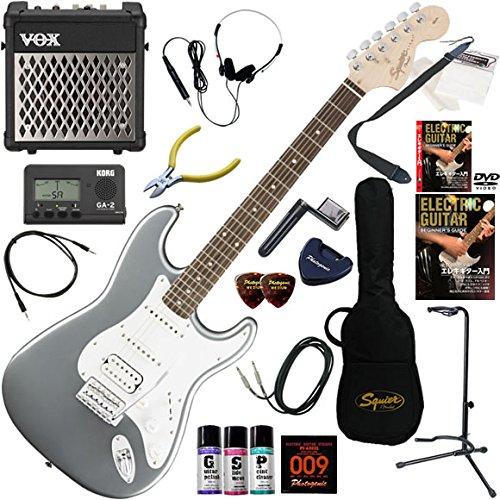 Squier エレキギター 初心者 入門 リアピックアップにハムバッカーを搭載した、幅広いサウンドメイキングが可能なストラトキャスター。 リズム機能とエフェクターを搭載したVOX MINI5RMが入ってる充実20点セット Affinity Stratocaster HSS/SLS(スリックシルバー) B01LWL2EG9 SLS(スリックシルバー) SLS(スリックシルバー)