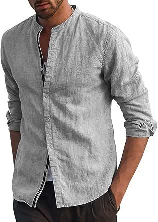 Fueri Camisa de manga larga para hombre de algodón y lino con botones